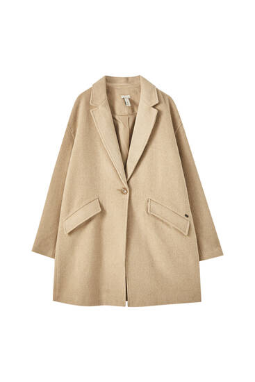 Long coat with flap pockets