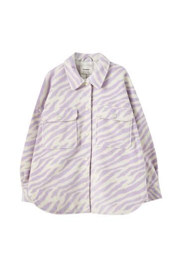 Куртка рубашечного кроя с принтом «зебра»