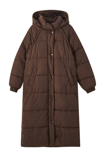Long brown puffer jacket