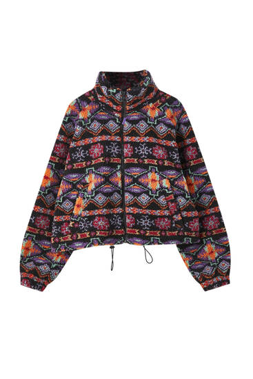 Printed teddy jacket