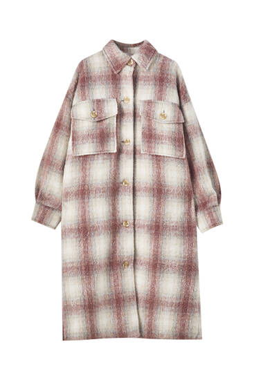 Extra long check overshirt