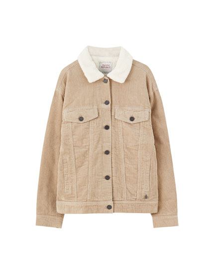 Oversized corduroy jacket with faux shearling