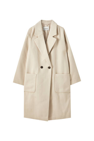 Synthetic wool coat with patch pockets