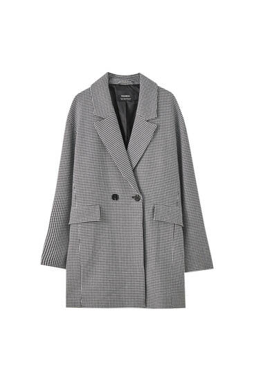 Lightweight houndstooth coat