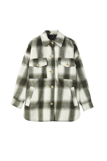 Checked synthetic wool overshirt