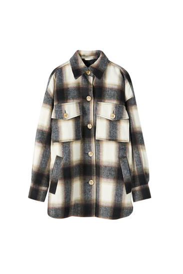 Synthetic wool check print overshirt