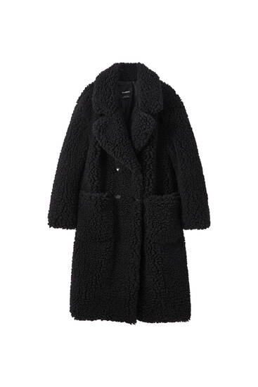 Long bouclé faux fur coat