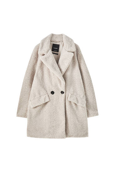 Double button curly faux fur coat