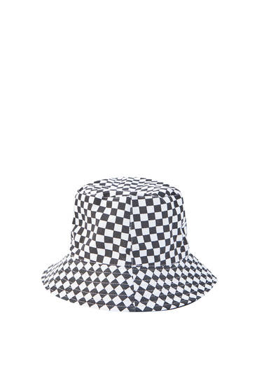 Check print bucket hat