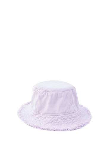 Frayed lilac bucket hat