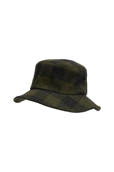 Green check bucket hat
