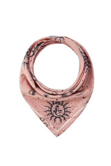 Pink scarf with sun and moon print