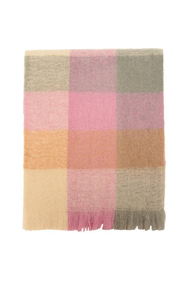 Pastel-coloured checked scarf
