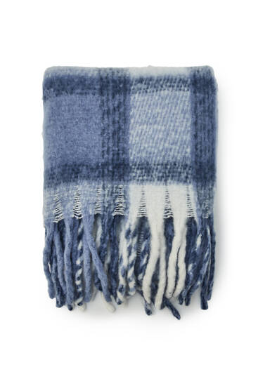 Blue checked scarf