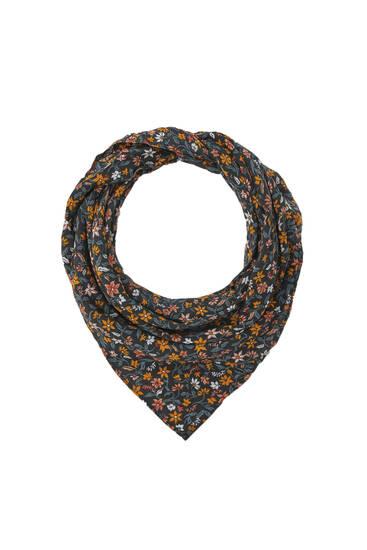 Black floral print scarf