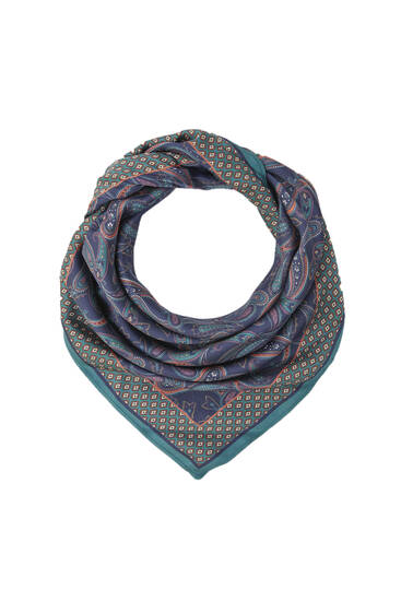 Paisley print satin scarf