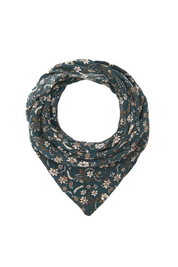 Scarf with flower and branch print