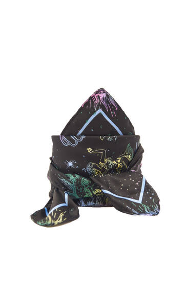 Satin scarf with an astral print