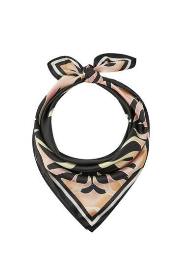 Black flame print scarf
