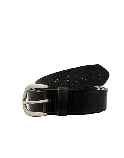 Cutwork faux leather belt