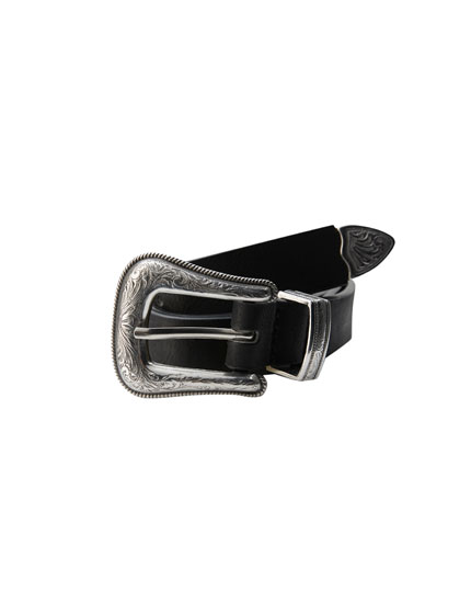Faux leather cowboy belt