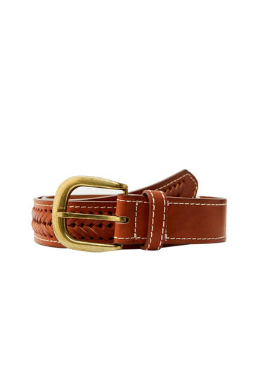 Braided brown faux leather belt