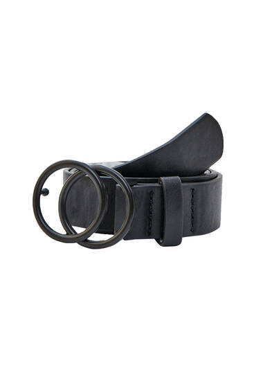 Black faux leather double buckle belt