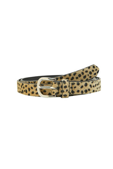 Leopard belt with a metallic buckle.
