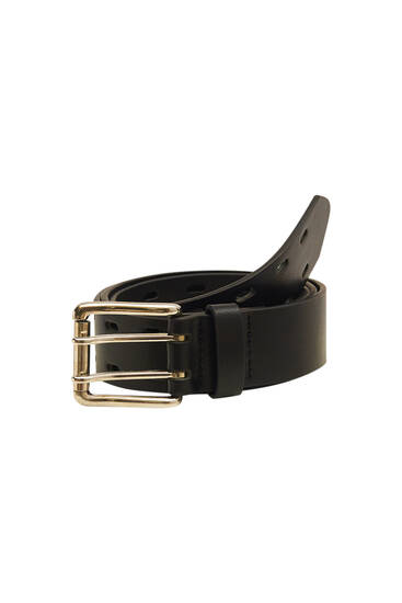 Black belt with double perforation