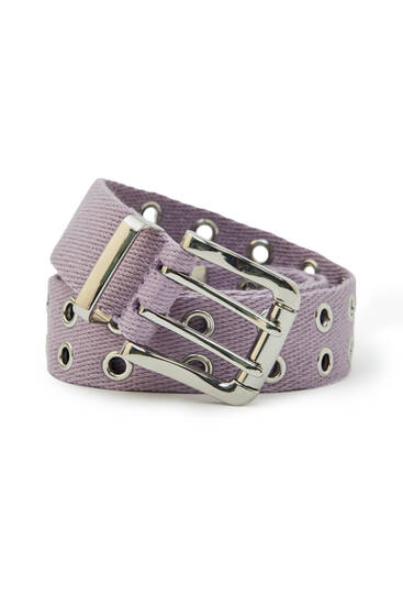 Lilac belt with double rows of eyelets