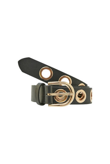 Black belt with golden eyelets