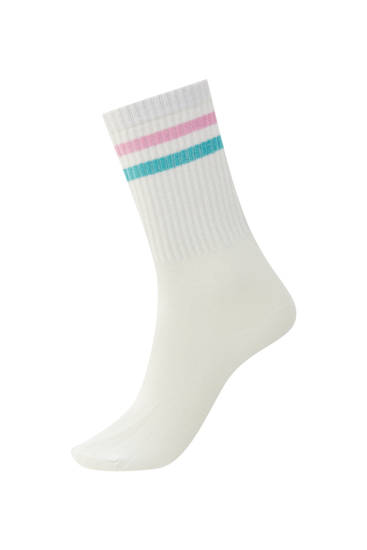 White sports socks with contrast stripes