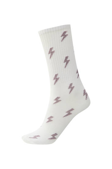 White sports socks with stripe print
