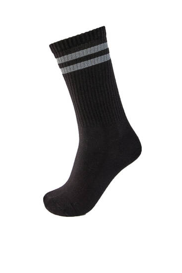 Reflective-striped sports socks