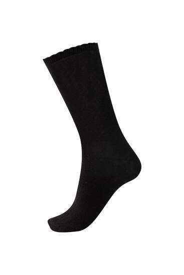 Pack of black sports socks with scalloped detail