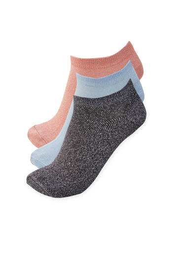 3-pack of ankle socks with shimmer