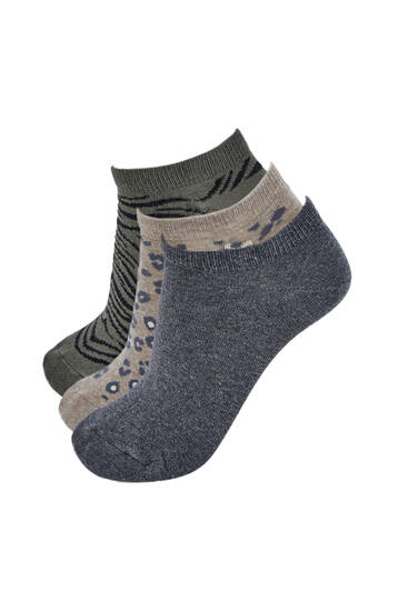 Pack of 3 ankle socks with animal print