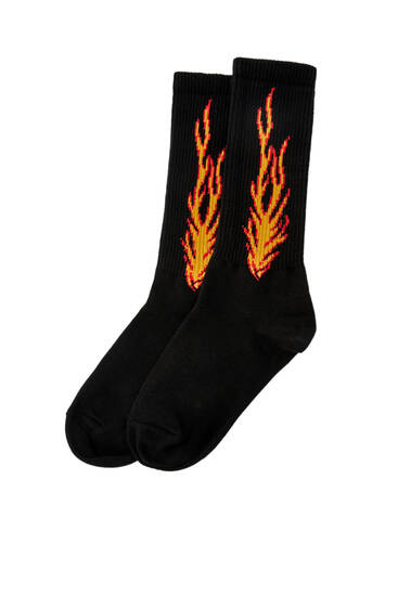 Side flame print sports socks