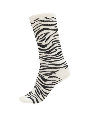 Zebra print sports socks