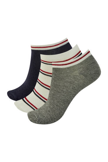 Pack of stripe print ankle socks