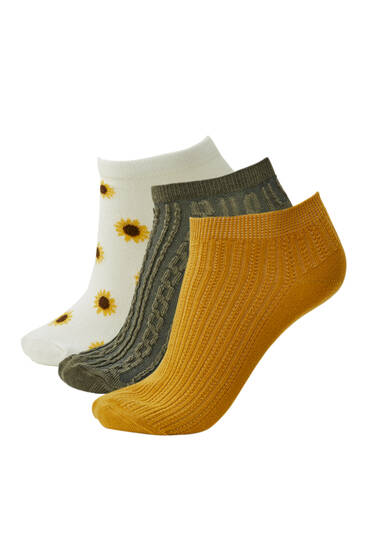 Pack of sunflower ankle socks