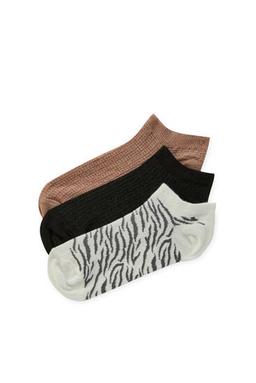 Pack of zebra ankle socks