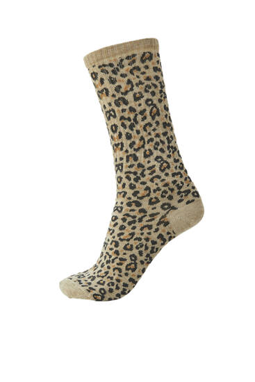 Leopard print sports socks