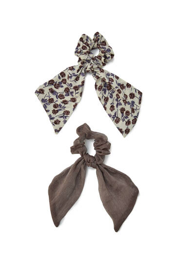 Pack of chiffon scarf-style scrunchie