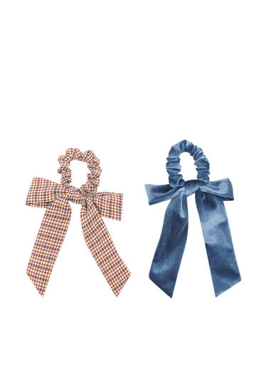 Pack of velvet checked scarf-style scrunchies