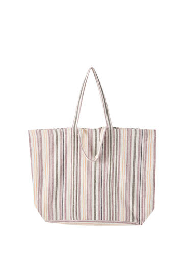 Rustic striped fabric bag