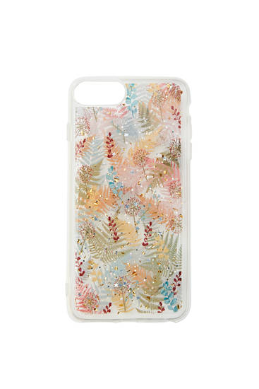 Transparent smartphone case with a leaf print
