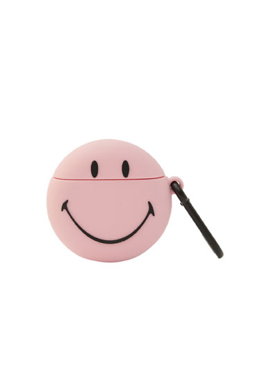 Pink Smiley airpod case