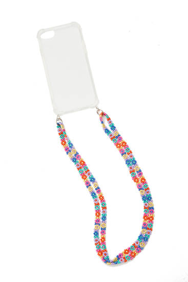 Transparent smartphone case with beaded cord