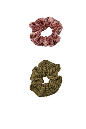 2-pack of corduroy textured scrunchies